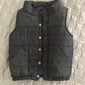 Boys puffer vest with tweed detailing